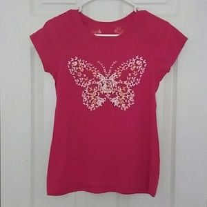 Other - Butterfly print pink t-shirt size L 14/16